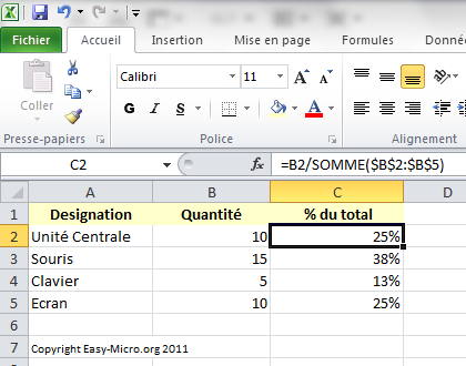 Easy Micro Excel Base Pourcentage Formations Informatiques