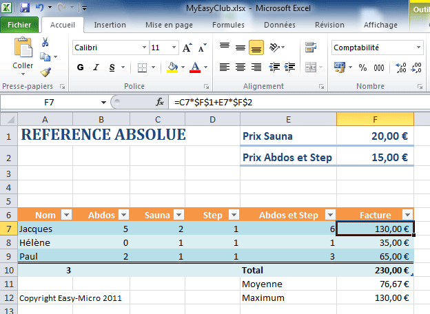 Référence absolue Excel