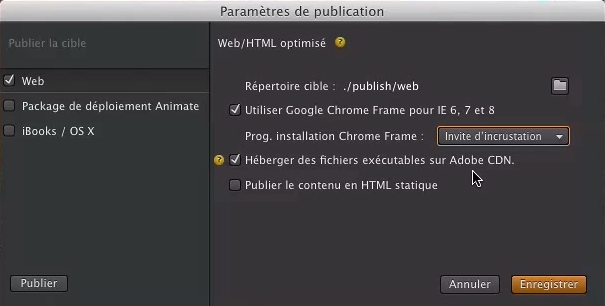 Parametres de publication Edge Animate