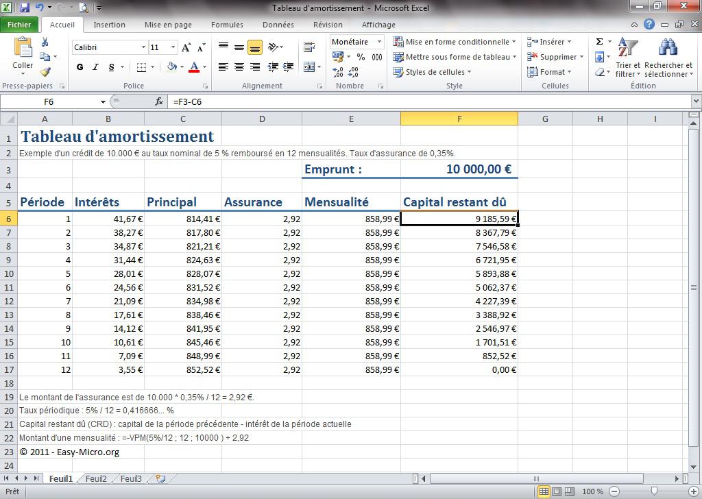 Easy Micro Excel Avancees Amortissement Formations Informatiques Pour Entreprises