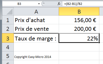 Easy micro excel base pourcentage formations for Calcul de pourcentage de pente