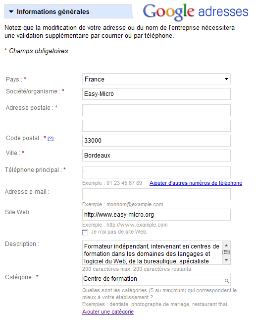 Inscription à Google adresses